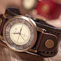 CJUN Fashion Genuine Cow Leather Strap Casual Watch Women Dress Watches Vintage Quartz Analog punk watch = 1932484164