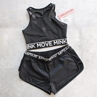minkpink move - the dark side jogger shorts - black