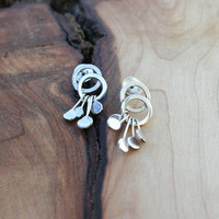 Sterling silver handmade modern post dangle earrings. Contemporary unique post and dangle earrings with hoops and dangles.