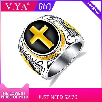 V.YA Punk Rock Cross Men Rings 2018 Fashion Sliver Gold Color Jewelry Charms Unique Stainless Steel Band Rings For Man Drop Ship