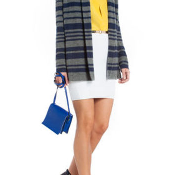 Navy Blue BCBG Zoie Striped Shawl-Collar Cardigan