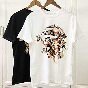 "BURBERRY Newest Popular Women Men Leisure ""Plaid Angel Umbrella"" Pattern Print T-Shirt Top"