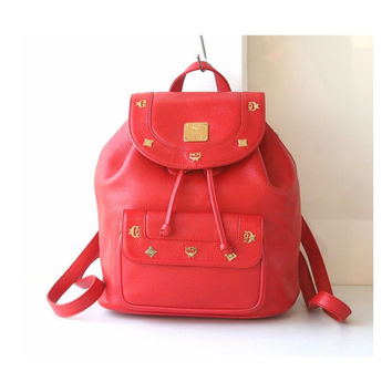 MCM Bag Red Leather Large Backpack Vintage Authentic Handbag