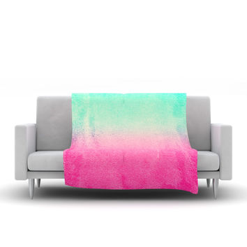 "Monika Strigel ""Sunny Melon"" Aqua Magenta Fleece Throw Blanket"