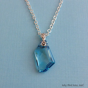 Swarovski Pendant Necklace – aquamarine/blue drop crystal pendant w/ a delicate silver plated chain. holiday gift, simple everyday necklace