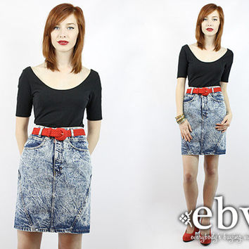 Vintage 80s Acid Wash Denim Mini Skirt XS S Acid Wash Skirt Acid Wash Denim Skirt Jean Skirt Jean Mini Skirt Acid Wash Jean Skirt