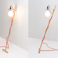 ON SALE- Polo Lamp: 'Free Standing' Floor Lamp with Colored Fabric Cords.