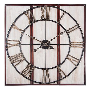 "3 Piece Oversized Roman Square Wall Clock -32"" In Beautiful Wood Finish"