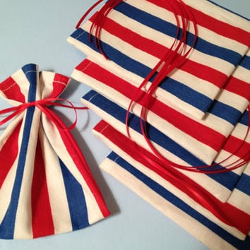 6 Ribbon Tied Mini Gift Bags, Favor Bags, Little Cloth Treat Bags, Gift Wrap, Product Supply Bags, Soap Bags, Red, White, Blue Stripes