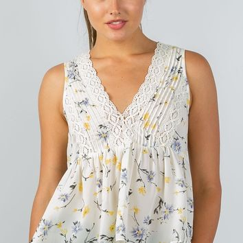 Ladies fashion floral print crochet babydoll v-neck tank top