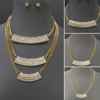 "14"" 22"" 26"" crystal layered necklace .25"" earrings 3 piece"
