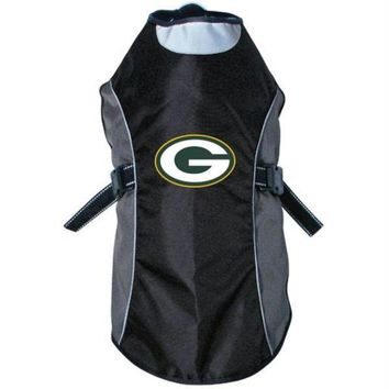 DCCKT9W Green Bay Packers Water Resistant Reflective Pet Jacket