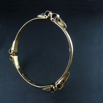 Bird Skull Bangle - Bronze Raven Skull Bangle
