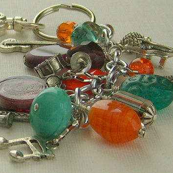 Beaded Keychain Music Charms Colorful Beads FREE SHIPPING