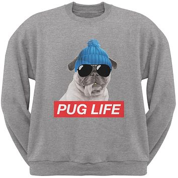Pug Life Adult Heather Grey Sweatshirt