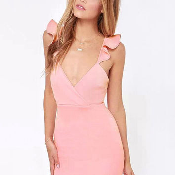 Lotus Leaf Straps V-neck Bodycon Mini Dress