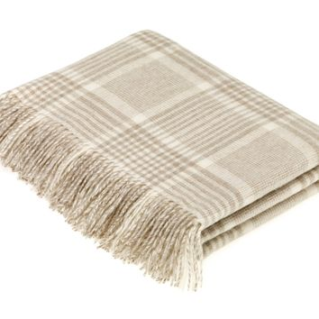 Merino Lambswool Prince of Wales Check Beige Throw Blanket