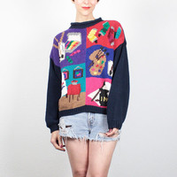 Vintage 80s Sweater Chunky Knit Pullover Paint Artist Art Print Jumper 1980s New Wave Sweater Novelty Print Cosby Sweater M Medium L Large