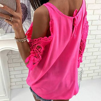Women's Cool Loose Fitting Chiffon Blouse With Off Shoulder Lace Half Sleeve
