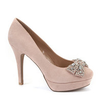 Nude Diamante Bow Court Shoes