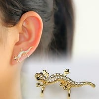 Lizard Rhinestone Ear Cuff (Single,No Piercing,Adjustable Clip) | LilyFair Jewelry