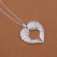 925 Sterling Silver Necklace Fashion Jewelry Angel Heart Wings Pendant