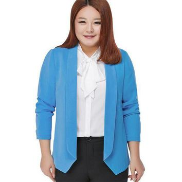 100 Kg Can Wear Woman Spring Autumn Loose Blazer Jacket Candy Color Plus Size Chiffon Cardigan Coat Long Sleeve Ol Work Suits