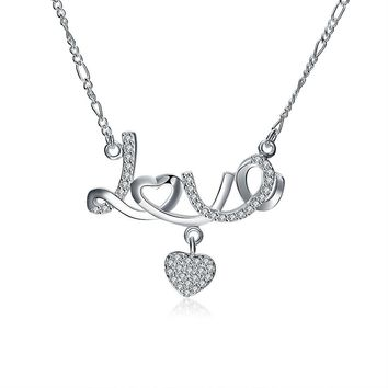 Romantic Gift Stainless Steel Choker Silver Color Handwriting Customized Necklace Love Heart Pendant Necklace Jewelry #45