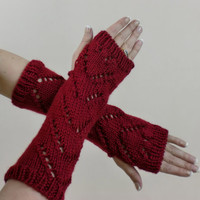 Red Fingerless Gloves Chevron Lace Warm Long