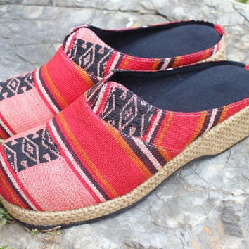 Ethnic Womens Shoes Tribal Naga Embroidered Vegan Slip On Slides Clogs