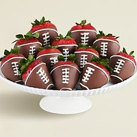 Full Dozen Hand-Dipped Football Strawberries and other chocolates & gifts at berries.com