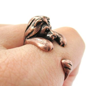 Realistic Lion Shaped Animal Wrap Around Ring in Copper | US Sizes 4 to 9 Available