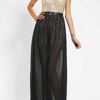 Urban Outfitters - Reverse Sequin Bustier Strapless Maxi Dress