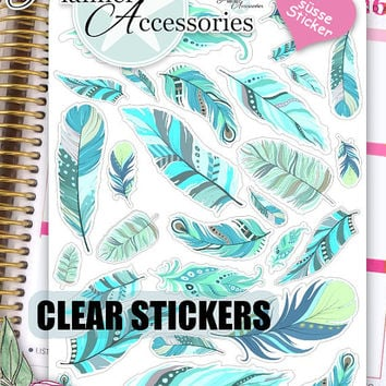Clear Feather Stickers Boho Stickers Feather Boho Stickers Planner Stickers Erin Condren Feather Decal Life Planner Decorative Sticker 440