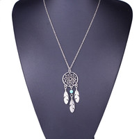 Dream Catcher Maxi Necklace Feather Pendant Chain