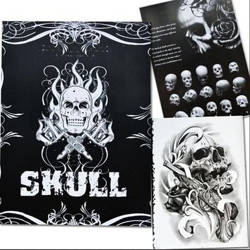 76 Pages A4 Tattoo Book Black Sexy Skull Design Sketch Flash Book Tattoo Flash Sketchbook