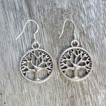 wish tree earrings,Sterling silver ear hook -Best Gift Bracelet