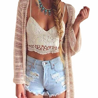 2016 Summer Fashion Women Crop Top Halter Crochet Tops Deep V Neck Bralette Vintage Lace Camisole Bandage Backless Top