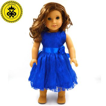 Handmade 15 Colors Princess Dress Doll Clothes for 18 inch Dolls American Girl Doll Clothes and Accessories D-9