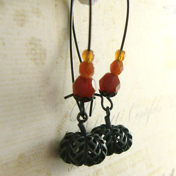 Gothic Gourds - Ancient Harvest Pumpkin Earrings - Black Dangle Earrings - Halloween Jewelry - Autumn Jewelry - Unique Gift Artistic Jewelry