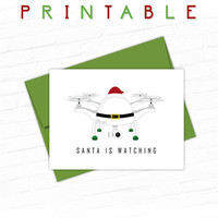 Unique Christmas Card, Funny Holiday Cards, Illustrated Christmas Card Set, Christmas Drone, Santa Christmas Card, Printable Christmas Cards