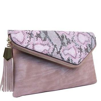 Sweet As Candy Pink Python Clutch