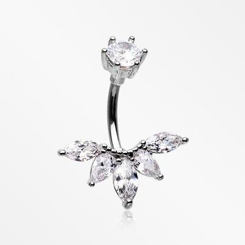 Marquise Floret Sparkle Belly Button Ring