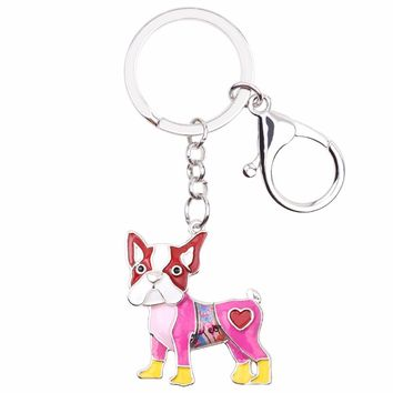 Colorful Boston Terrier key chain | enamel Boston Terrier hanging charm | Boston key chain lanyard accessory - Dog bag charm