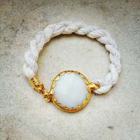 wedding jewelry white large stone in gold frame gemstone handmade  bracelet gold  and white natural silk israel jewelry