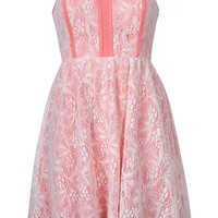 PIPED LACE BANDEAU DRESS