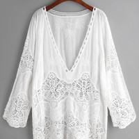 Plunge Neck Embroidered Eyelet Crochet Lace Top -SheIn(Sheinside)