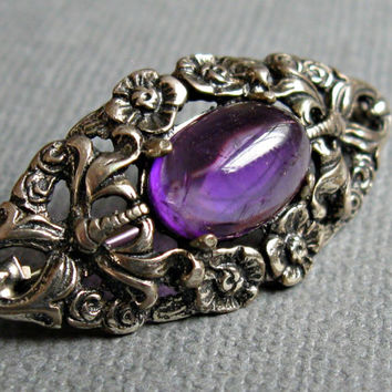 Vintage Silver Pin Purple Cabochon Floral Germany