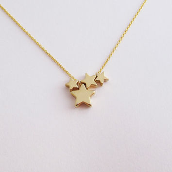 Four Star Necklace, Three Star Necklace, Small Stars, Gift for Mom, Sisters Necklace, Layering Necklace / N314