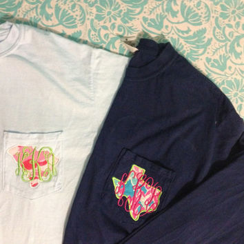 Lilly Pulitzer State Monogrammed Long Sleeve Pocket Tee